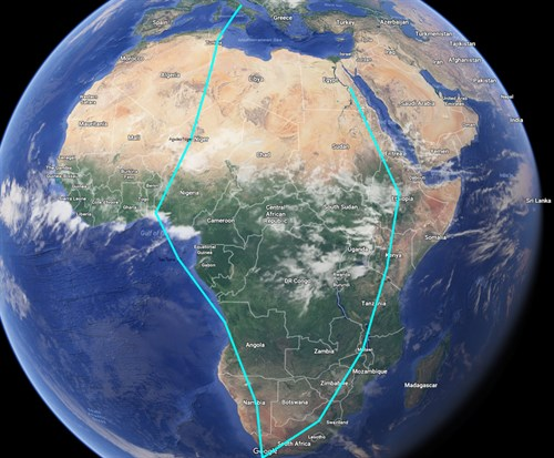 Piper M600 Demo flight route around African continent