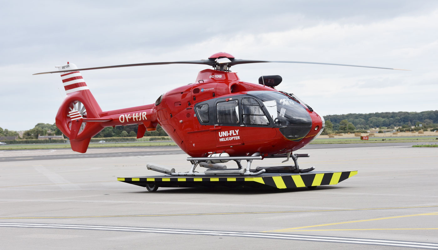 A picture of the Airbus EC-135 helicopter, OY-HJR.